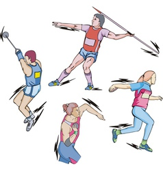 Shot put discus hammer and javelin throw vector