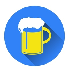 Beer in mug icon flat vector