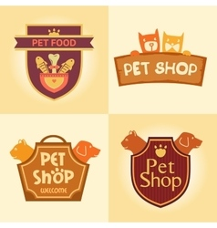 Set of logos for pet shop hotel vector