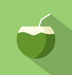 Flat design coconut icon vector
