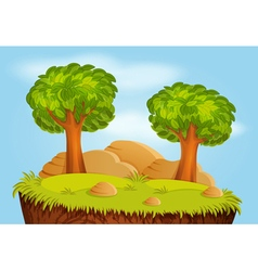 Nature landscape with trees and stones for game vector