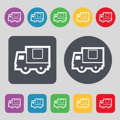 Delivery truck icon sign a set of 12 colored vector