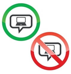 Laptop message permission signs vector