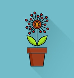 Flower in flowerpot vector