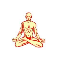 Man lotus position asana woodcut vector