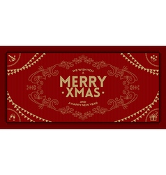 Merry Christmas greeting vintage frame vector image