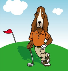 Dog golfer vector