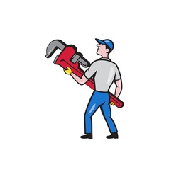 Plumber carry monkey wrench walking cartoon vector