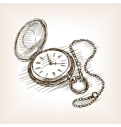 Old pocket clock hand drawn sketch vector