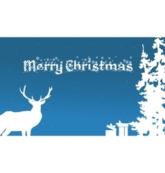 Silhouette of deer and gift fot christmas vector