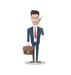 Angry businessman with mobile phone vector