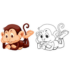 Animal outline for monkey relaxing vector