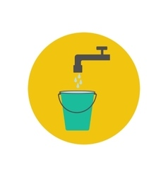 Bucket and water tap vector image vector image