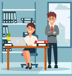 business people group workers in office interior vector image vector image