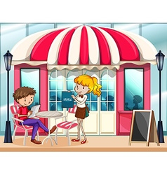 Cafe scene with waitress vector image