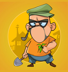 Cartoon puzzled man cottager with a shovel vector