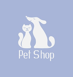 Cat and dog logo for pet shop vector image vector image