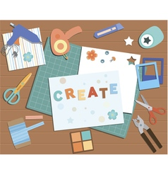 Collection of scrapbooking tools vector