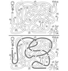 Egg hunt maze vector image