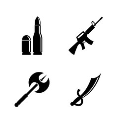 Firearms and bladed weapons simple related vector