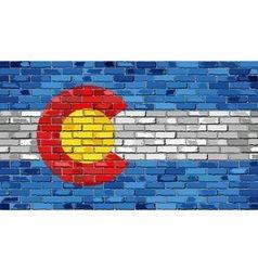 Flag of colorado on a brick wall vector