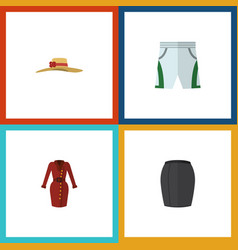 Flat icon garment set of clothes trunks cloth vector