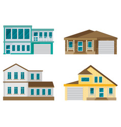 Flat residential house set vector