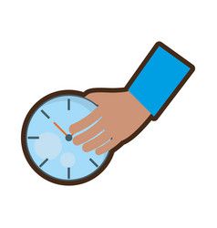 hand holding watch time delivery vector image