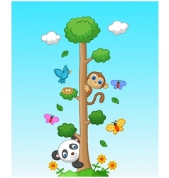 Happy animal with tall tree vector