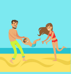 Happy mother and father with their son having fun vector