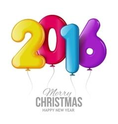 Happy new 2016 year Realistic 3D balls vector image vector image