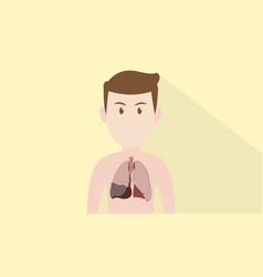 Human body cartoon face with pneumonia ill sick vector