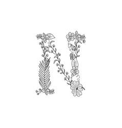 letter n floral ornament vector image