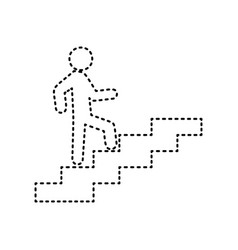 Man on stairs going up black dashed icon vector