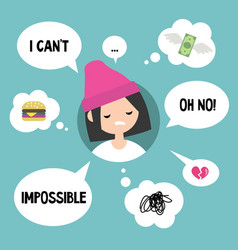 Modern communication concept unhappy girl vector