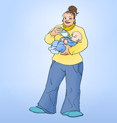 Mother feeding child vector image vector image