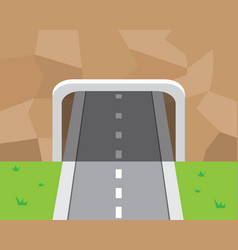 Mountain tunnel and road in flat style vector