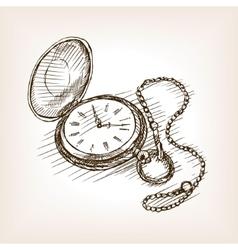 Old pocket clock hand drawn sketch vector