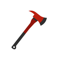 red firefighter axe icon flat style vector image