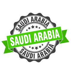 Saudi arabia round ribbon seal vector