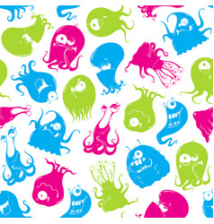 Seamless pattern funny monsters vector