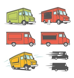 Set of food trucks from various angles vector image vector image