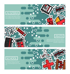 set of horizontal banners about algebra vector image vector image