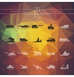 Set of military equipment icons vector image vector image