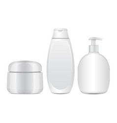 set of white cosmetic bottles realistic tube or vector image vector image
