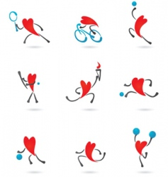 sport and fitness heart icons vector image vector image