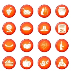 Thanksgiving icons set vector