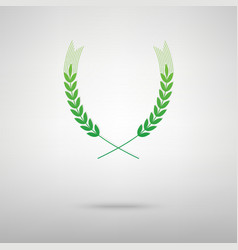 Wheat sign green icon vector