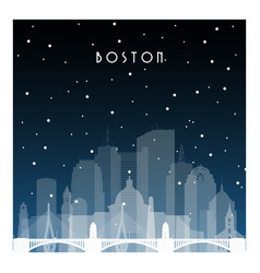 winter night in boston night city in flat style vector image