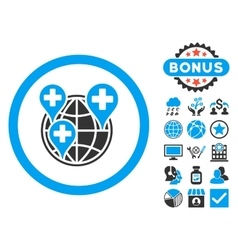 Global clinic company flat icon with bonus vector